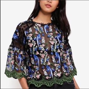 TOPSHOP Embroidered Mesh Top